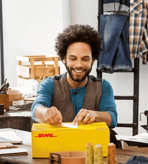 Man sending a shipment with DHL